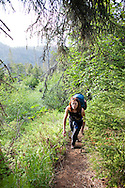 Stephanie Haynes hiking on the Alpine Ridge trail in Kachemak Bay State Park, near Homer, Alaska.