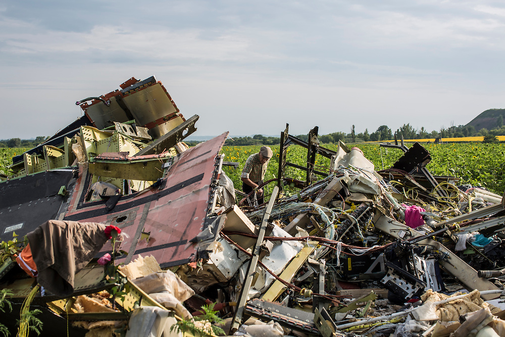 RASSIPNOYE, UKRAINE - JULY 19: A man looks at debris from Malaysia Airlines flight MH 17 which landed in a field of sunflowers on July 19, 2014 in Rassipnoye, Ukraine. Malaysia Airlines flight MH17 was travelling from Amsterdam to Kuala Lumpur when it crashed killing all 298 on board including 80 children. The aircraft was allegedly shot down by a missile and investigations continue over the perpetrators of the attack. (Photo by Brendan Hoffman/Getty Images) *** Local Caption ***