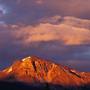 Solitary peak at sunset in Jasper National Park, Alberta, Canada.