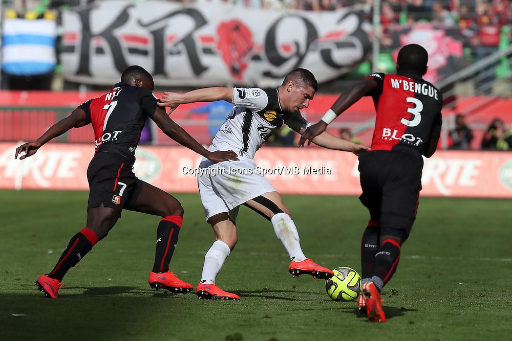Jeremy PIED / Paul-Georges NTEP - 12.04.2015 - Rennes / Guingamp - 32eme journee de Ligue 1 <br />Photo : Vincent Michel / Icon Sport