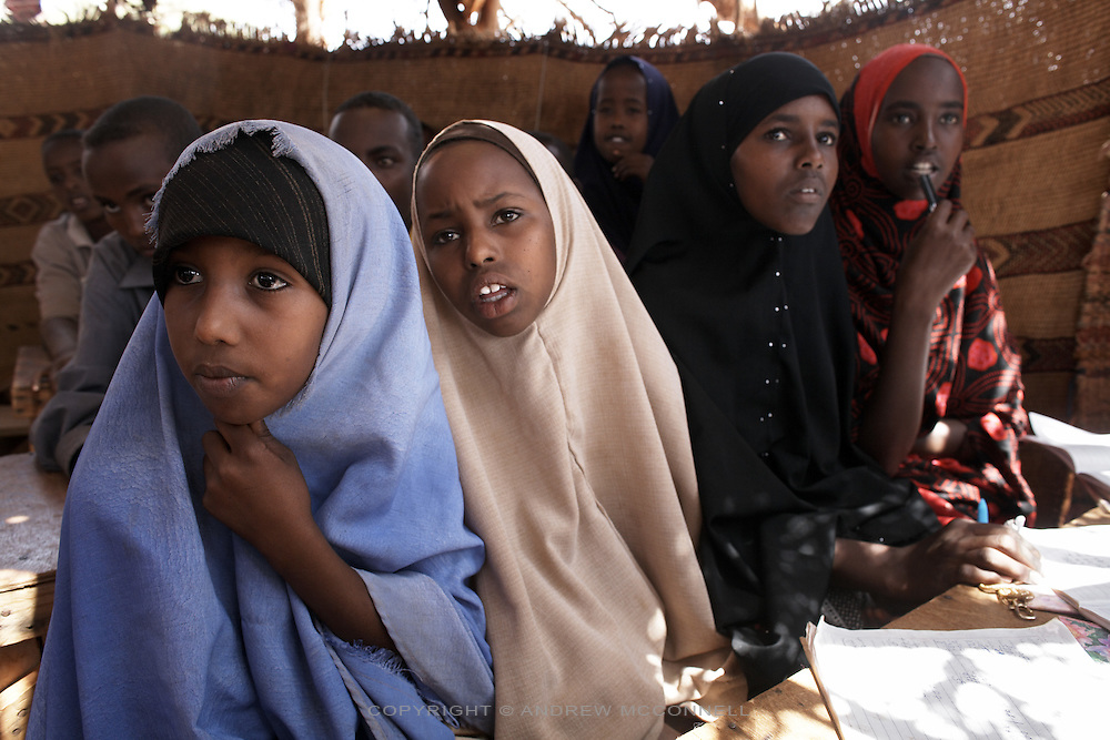 A mobile school run by Save the Children,  gives children from the nomadic community access to education which was previously impossible due to their lifestyle, pictured in Gorayahun, Somaliland.  More than half the country's 3.5 million population are nomadic pastoralists. The mobile school can be taken down and reassembled when the community moves to different grazing areas. Teachers are also trained from within the community..