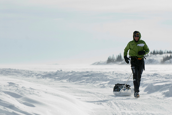 The Rock and Ice Ultra endurance running race, held in Canada's NWT city of Yellowknife. Runners battled -40 temps,high winds & glaring sun over a 300km course across lake & tundra.