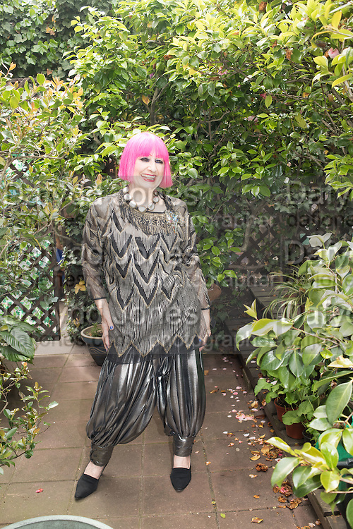 Zandra Rhodes in her apt at the Fashion Museum. Bermondsey. London. 24 May 2016