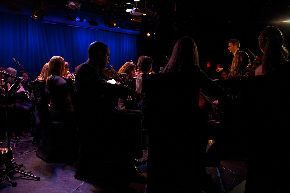 The orchestra behind tenor Joseph Calleja performing at Le Poisson Rouge on October 24, 2011.