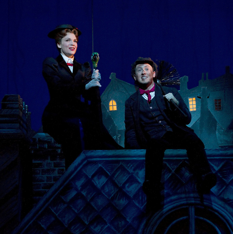 Rachel Wallace as Mary Poppins, left, and Matt Lee as Bert perform the song Chim Chim Cher-ee at the media call of the stage show Mary Poppins, Civic Theatre, Auckland, New Zealand, Wednesday, October 17, 2012.   Credit: SNPA / David Rowland