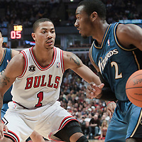 13 November 2010: Chicago Bulls' point guard #1 Derrick Rose defends against Washington Wizards' point guard #2 John Wall during the Chicago Bulls 103-96 victory over the Washington Wizards at the United Center, in Chicago, Illinois, USA.