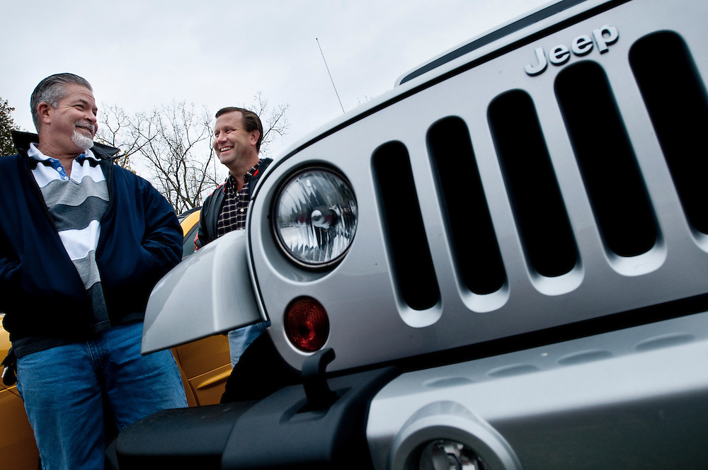 Daniel Lorigan, 52 (left in picture)  and Robert Jordan, 49, both employed at the Jeep plant in Toledo, Ohio that was saved by Obama's bailout of the auto industry, will vote differently in the upcoming election. Daniel will vote for Obama, while Robert will vote for Mitt Romney.