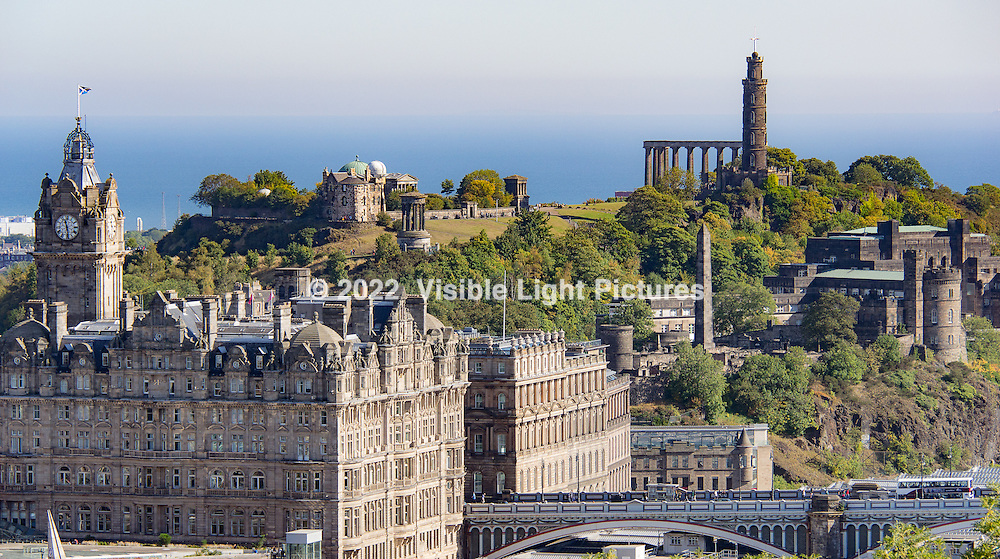 This is a view of Calton Hill from across town, on tip of the Edinburgh Castle.