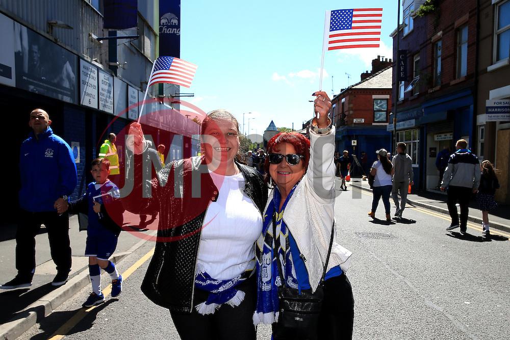 Fans wave USA flags ahead of Tim Howard's final match for Everton - Mandatory byline: Matt McNulty/JMP - 15/05/2016 - FOOTBALL - Goodison Park - Liverpool, England - Everton v Norwich City - Barclays Premier League