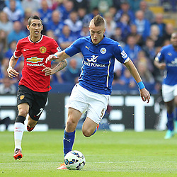 Leicester City's Jamie Vardy during the Barclays Premiership match between Leicester City FC and Manchester United FC, at the King Power Stadium, Leicester, 21st September 2014 © Phil Duncan | SportPix.org.uk