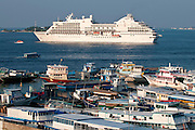 Cruise liner in Male. Maldives.