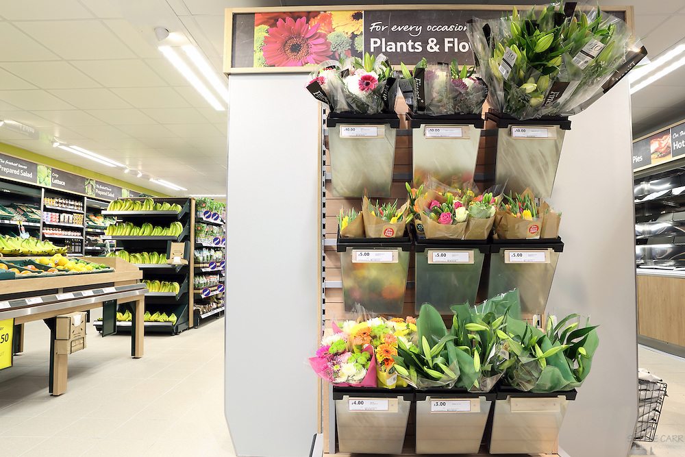 Interiors of newly-fitted Tesco Express in Imperial Wharf, London SW6, on behalf of BaseBuilders