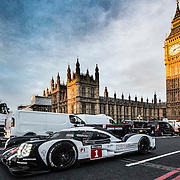 Mark Webber drives the 919 Hybrid LMP1 two-litre, V4 turbocharged 500 hp petrol engined Le Mans winning Porsche 919 Hybrid for a quick spin around London.