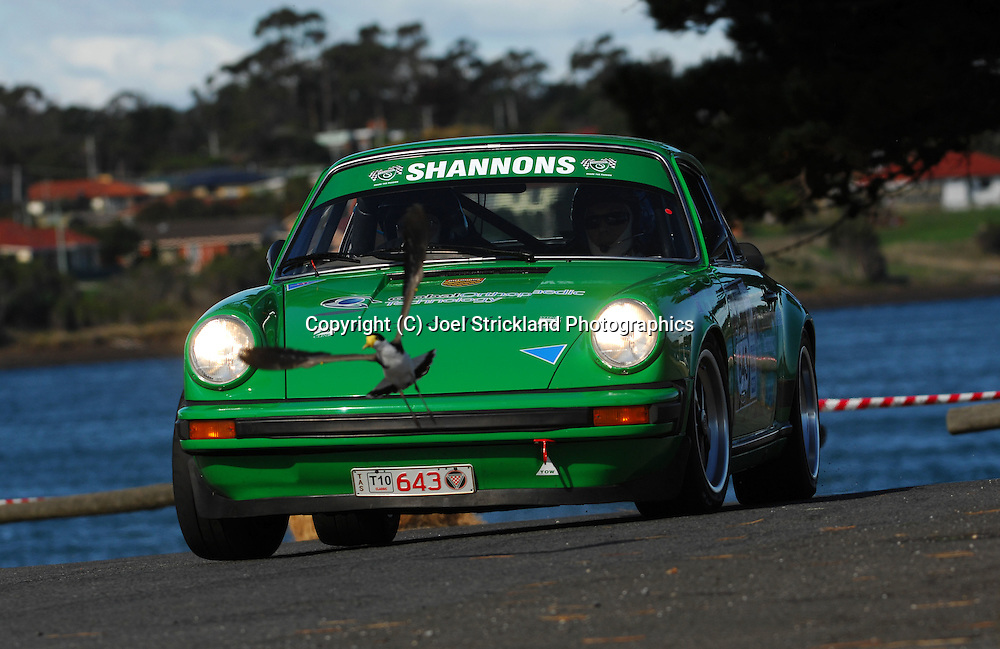 #643 - John Ireland & Michael Ribot - 1977 Porsche 911 Carrera 3.Prologue.George Town.Targa Tasmania 2010.27th of April 2010.(C) Joel Strickland Photographics.Use information: This image is intended for Editorial use only (e.g. news or commentary, print or electronic). Any commercial or promotional use requires additional clearance.
