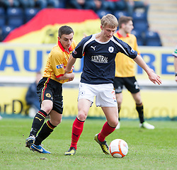 Partick Thistle's Steven Lawless and Falkirk's Stephen Kingsley..half time ; Falkirk 0 v 0 Partick Thistle, 20/4/2013..© Michael Schofield.