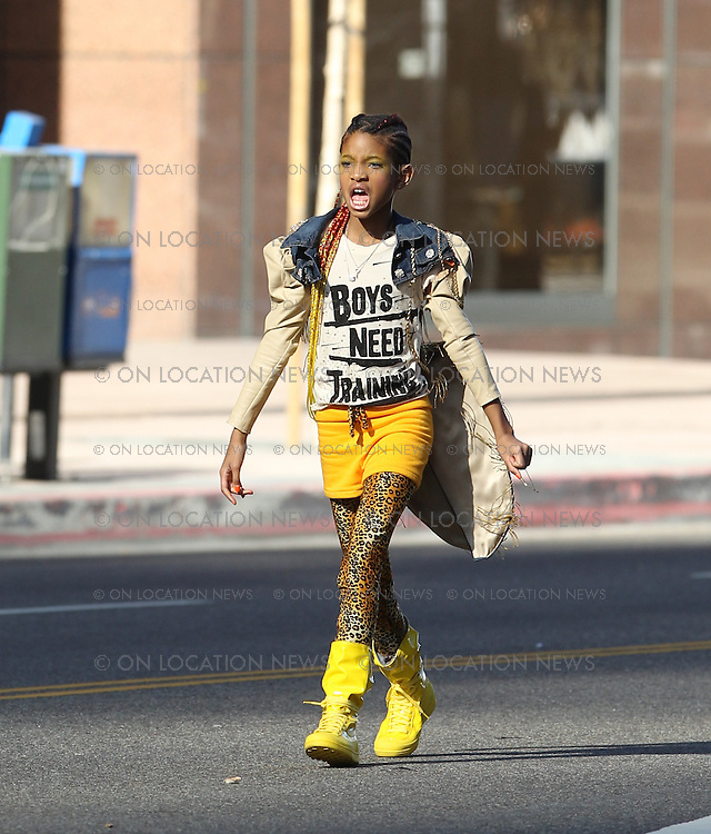 January 23rd 2011  <br /> Los Angeles, CA. <br /> Non Exclusive. <br /> Willow Smith films a music video for &quot;21st Century Girl&quot; on the streets of Downtown LA. Proud parents Will and Jada Pinkett Smith were both on set watching young Willow film her scenes. Also spotted on set for a visit was Willow's brother Jaden Smith and pal Jackie Chan. Willow wrapped filming for the video after a busy 2 day shoot. Photo by Eric Ford / On Location News 818-613-3955  info@onlocationnews.com