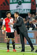 ROTTERDAM - Feyenoord - AZ , Voetbal , Eredivisie, Seizoen 2015/2016 , Stadion de Kuip , 25-10-2015 , Feyenoord trainer Giovanni van Bronckhorst (r) in gesprek met Speler van Feyenoord Tonny Vilhena (l)