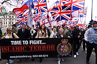 Paul Golding and Jayda fransen head up Far right anti Islamic group Britain First march and rally on Victoria Embankment in Central London, April 1 2017 photos Janine Wiedel