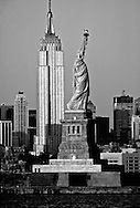 Statue of Liberty and Empire State Building, New York City, New York, New Jersey, USA