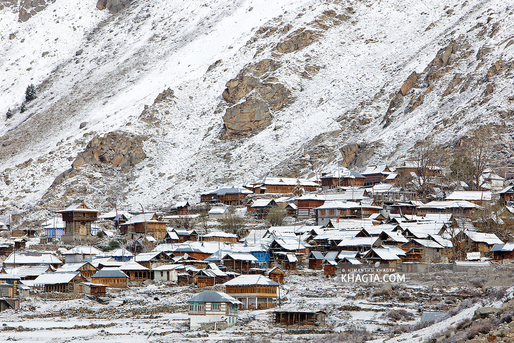 The beautiful village of Chitkul, Kinnaur, in the lap of the Himalayas, covered with fresh snowfall.<br /> Chitkul, a small village on the bank of Baspa river is the last village on the Old Hindustan Tibet Road and is also known as the, 'Last village of India'.