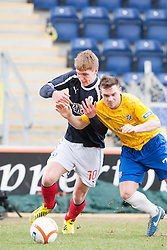 Falkirk's Jay Fulton and Cowdenbeath's Mark Ramsay..half time : Falkirk 0 v 0 Cowdenbeath, 6/4/2013..©Michael Schofield..