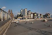 Tube Houses next to Tran Nhat Duat Street , by Long Bien Bridge Hanoi, Vietnam