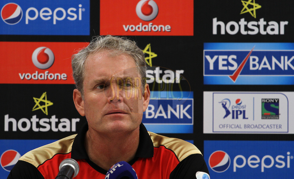Sunrisers Hyderabad coach Tom Moody speaks during the press conference of the match 23 of the Pepsi IPL 2015 (Indian Premier League) between The Mumbai Indians and The Sunrisers Hyderabad held at the Wankhede Stadium in Mumbai India on the 25th April 2015.<br /> <br /> Photo by:  Vipin Pawar / SPORTZPICS / IPL