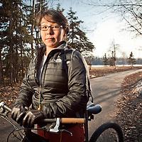 Tia Anderson on the bike trail near Westchester Lagoon