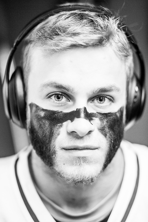 05/24/2015- Philadelphia, Penn. - Tufts midfielder Cam Irwin, A17, shows off his eye black in the locker room at Lincoln Financial Field before the NCAA Division III Men's Lacrosse National Championship Game on May 24, 2015. (Kelvin Ma/Tufts University)