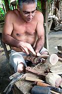 Wood carving in Baracoa, Guantanamo, Cuba.