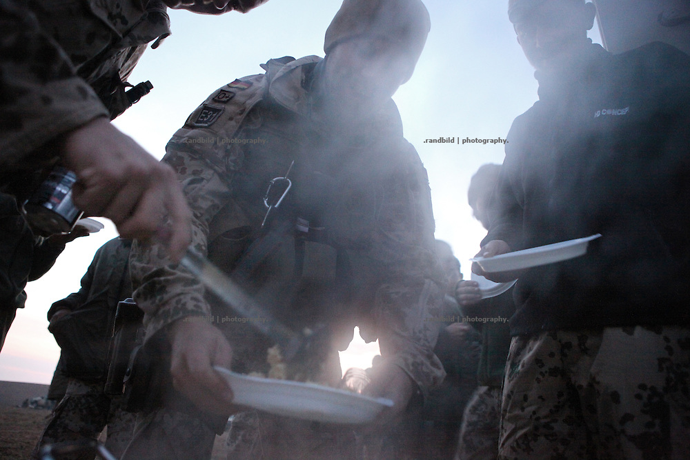Instant scrambled eggs for a breakfast at dawn. Out there in the desert a delicious meal...In late October 2011 Kunduz based 3.Task Force started a several days operation in and around Nawabad (District Chahar Darah), west of Kunduz, northern Afghanistan. During the Operation Orpheus about 100 german infantery soldiers rolled out for patrols through the town and surrounding areas, which were expected as a retreat zone of insurgents.