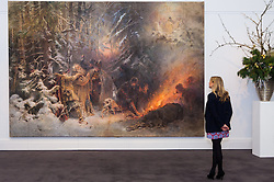 Sotheby's, London, November 21st 2014.  Sotheby's presents one of its strongest offerings of Russian paintings, icons and artworks as the renowned fine art  auction house celebrates its 25th year in Russia. Pictured: Expected to fetch between £1.5 - £2.5 million, Makovsky's  rediscovered monumental materpiece t  six metre wide, picturing the life of Russia's legendary hero Ivan Susanin who is credited with saving the life of the young Mikhail Romanov, founder of the Romanov Dynasty