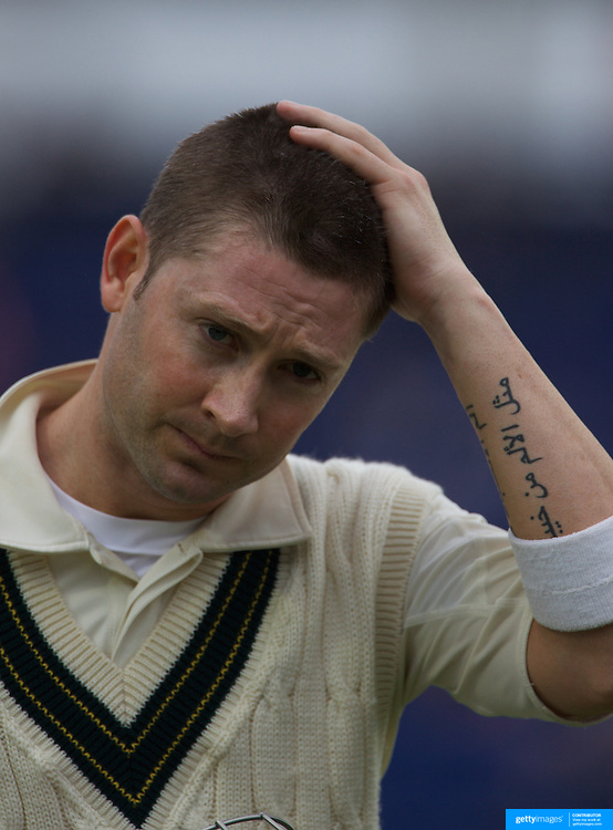 Michael Clarke shows his disappointment at his dismissal from a delivery by Stuart Broad during the England V Australia  Ashes Test series at Cardiff, Wales, on Friday, July 10, 2009. Photo Tim Clayton.