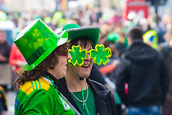 London, March 13th 2016. The annual St Patrick's Day Parade takes place in the Capital with various groups from the Irish community as well as contingents from other ethnicities taking part in a procession from Green Park to Trafalgar Square.  PICTURED: Plenty of novelty Irish accessories are apparent among the crowd. &copy;Paul Davey<br /> FOR LICENCING CONTACT: Paul Davey +44 (0) 7966 016 296 paul@pauldaveycreative.co.uk