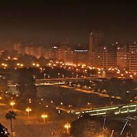 Las Fallas, March, 17. Valencia. Las Fallas Holidays and celebrations. , Winner `falla´of the special section. 1st price., Aerial view of Valencia, including Calatravas bridge