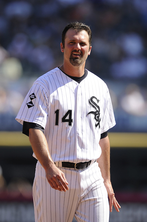 CHICAGO - JUNE 09:  Paul Konerko #14 of the Chicago White Sox looks on against the Houston Astros on June 9, 2012 at U.S. Cellular Field in Chicago, Illinois.  The White Sox defeated the Astros 10-1.  (Photo by Ron Vesely)   Subject: Paul Konerko