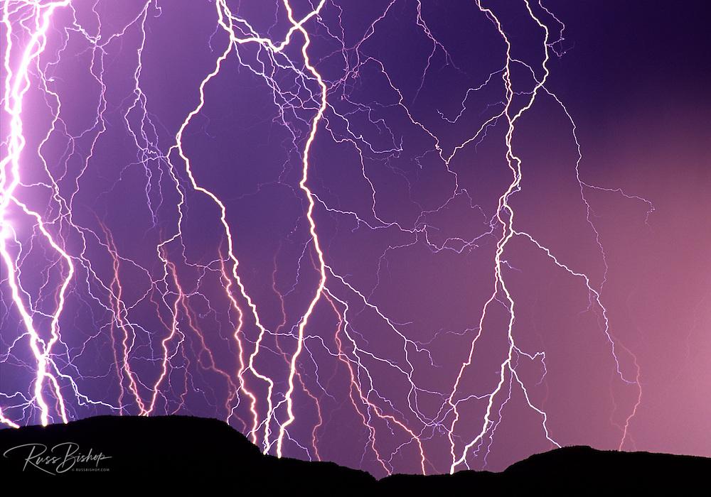 Lightning striking the Ajo Mountains, Organ Pipe Cactus National Monument, Arizona