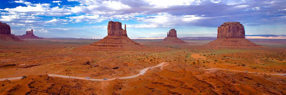 Sandstone monoliths  in Monument Valley, Utah