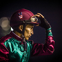 Jockey Rafael Bejarano on December 21, 2013 at Betfair Hollywood Park in Inglewood, California . The Track is set to close on December 22, 2013 after operating for 75 Years.(Alex Evers/ Eclipse Sportswire)