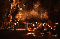 A long exposure shot lit entirely by torches inside the caves at Chillagoe.