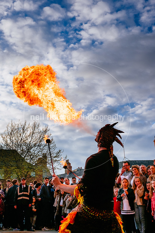 Trinity Square, Kingston Upon Hull, East Yorkshire, United Kingdom, 20 April, 2017. Pictured: Fire eater, Hull Street Food Nights at Trinity Square