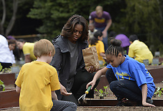 APR 02 2014 Michelle Obama plants with school children in the White House