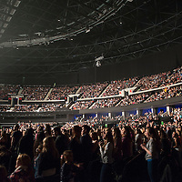 Music fans watch the Clyde 1 Live at The SSE Hydro on December 6, 2014 in Glasgow, United Kingdom. (Photo by Ross Gilmore
