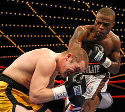 """March 10, 2007 - New York, NY - Peter """"Kid Chocolate"""" Quillen knocks out Nathan Martin in the second round of their bout at the Theater at Madison Square Garden in New York City."""