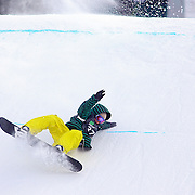 12/19/08 3:51:12 PM -- Breckenridge, CO, U.S.A. -- Snowboarder Torstein Horgmo of Trendheim, Norway crashes while attempting to land during the slopestyle event at the inaugural Winter Dew Tour in Breckenridge, Co. on December 19, 2008. The four-day competition is the first of three stops on the tour that features freeskiing and snowboarding..(Photo by Marc Piscotty / © 2008)