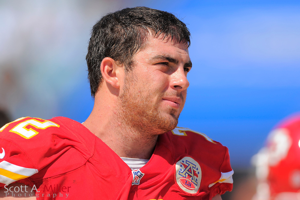 Kansas City Chiefs offensive tackle Eric Fisher (72) on the sidelines during the Chiefs 28-2 win over the Jacksonville Jaguars at EverBank Field on Sept. 8, 2013 in Jacksonville, Florida. The <br /> <br /> &copy;2013 Scott A. Miller