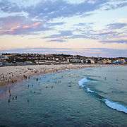 Large crowds early evening on Bondi Beach where temperatures reached 42.5 degrees centigrade in Sydney today..8th Jan 2013- Paul Lovelace Photography