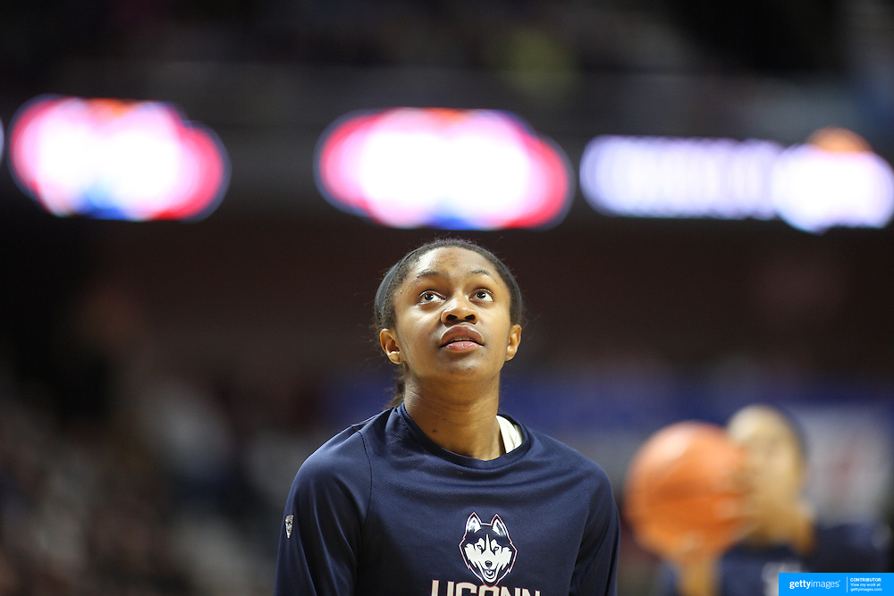 UNCASVILLE, CONNECTICUT- DECEMBER 4: Crystal Dangerfield #5 of the Connecticut Huskies during warm up before the UConn Huskies Vs Texas Longhorns, NCAA Women's Basketball game in the Jimmy V Classic on December 4th, 2016 at the Mohegan Sun Arena, Uncasville, Connecticut. (Photo by Tim Clayton/Corbis via Getty Images)