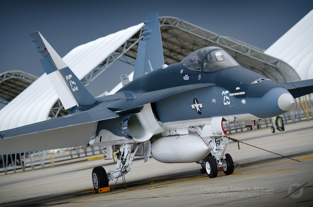 Fresh out of the paint shop, this F/A-18C, (BuNo 163733) takes on the appearance of a WWII Helldiver unit to comemmorate the 2011 Centennial of Naval Aviation (CoNA).