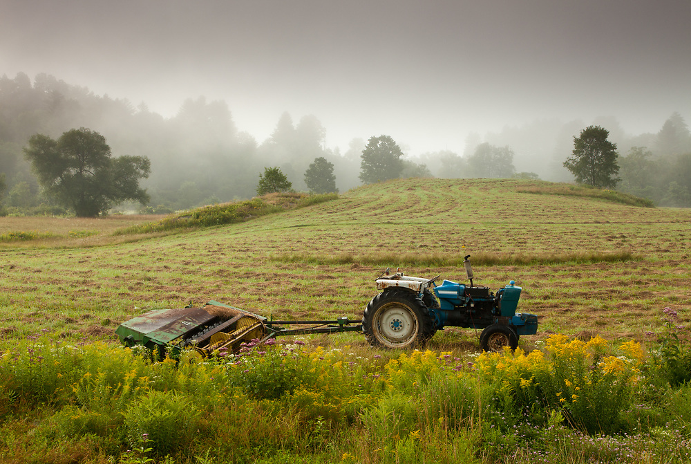 Fog lifts over a summer pasture outside Montpelier, VT.